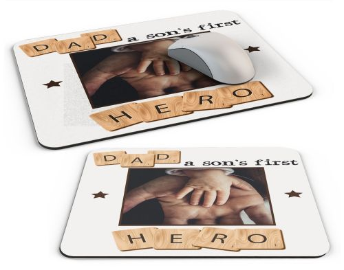 Personalised Dad, A Son's First Hero Computer PC Mousemat